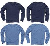 Unbelegte blaue lange Hülsenhemden Lizenzfreies Stockfoto