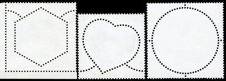 Unbelegte Briefmarke gestaltet worden durch schwarzen Rand. stockfotografie