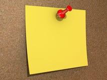 Unbelegte gelbe festgesteckte Anmerkung Lizenzfreie Stockbilder