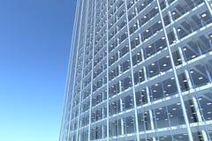 Unbelegte Glasfassade des gebogenen Bürohauses Vektor Abbildung