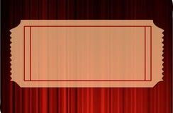 Unbelegte Karte über roten Trennvorhängen Stockbild