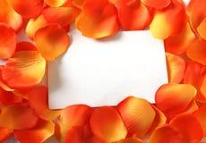 Unbelegte Karte in den orange Blumenblättern Lizenzfreie Stockbilder