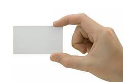 Unbelegte Karte in der Hand stockfotografie