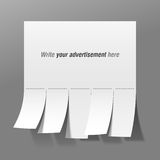 Unbelegte Reklameanzeige mit Schnittbelegen Lizenzfreies Stockfoto