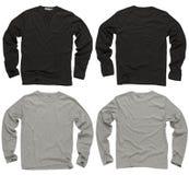 Unbelegte schwarze und graue lange Hülsenhemden Lizenzfreie Stockfotos