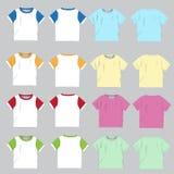 Unbelegte Shirtschablone Front und Rückseite, Vektorillustration Stockfoto