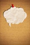 Unbelegte Spracheluftblase mit Stoßstift vom Korkenvorstand Lizenzfreie Stockbilder
