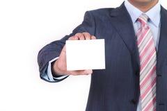 Unbelegte Visitenkarte in einer Hand Lizenzfreies Stockbild