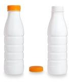 Unbelegte weiße Plastikflasche Stockfoto