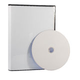 Unbelegter DVD Fall und Platte Stockfoto