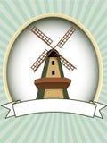 Unbelegter grüner ovaler Windmühlenprodukt-Kennsatzvektor Lizenzfreies Stockfoto