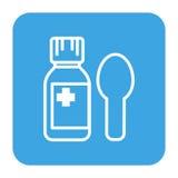 Unbelegter Kennsatz Sirupmedizinflasche Pillen zur Oberfläche an verschütten Lizenzfreies Stockfoto