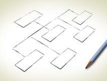 Unbelegter Organisationsplan Stockbild