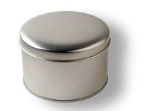 Unbelegter runder Metallbehälter mit Ausschnittspfad Stockfoto