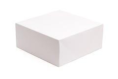 Unbelegter weißer Kasten getrennt auf Weiß Stockbild