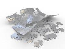 Unbelegtes abstraktes Puzzlespiel auf weißem Hintergrund Stockfotos