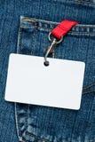 Unbelegtes Abzeichen in einer Tasche Stockbild