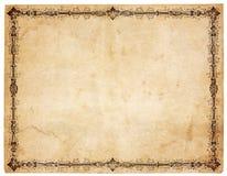 Unbelegtes antikes Papier mit viktorianischem Rand Stockbild