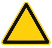 Unbelegtes Gefahren-Gefahr-Dreieck-Zeichen getrennt Lizenzfreies Stockfoto