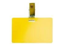 Unbelegtes gelbes Abzeichen Stockfoto