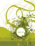 Unbelegtes Medaillon auf abstraktem grunge u. Blumenhintergrund Stockfoto
