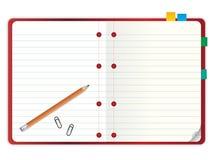 Unbelegtes Notizbuch mit Bleistiftabbildung Lizenzfreie Stockfotos