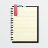 Unbelegtes Notizbuch mit Bookmark Stockbilder