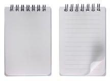 Unbelegtes Notizbuch mit und ohne Rasterfeld stockbild