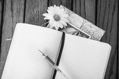 Unbelegtes Notizbuch und Feder Lizenzfreie Stockfotos