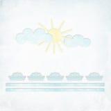 Unbelegtes strukturiertes Zeichen mit Sonne und Wolken stockbild