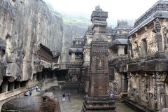 The unbeliavable details of Kailasa Temple of Ellora caves, the royalty free stock images