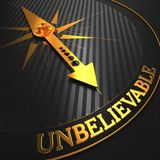 Unbelievable. Business Concept. Unbelievable - Business Concept. Golden Compass Needle on a Black Field Pointing to the Word Unbelievable Stock Image