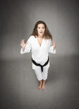 Unbelievable expression for a judo girl Royalty Free Stock Image