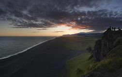 Unbelievable summer evening scene on the Vik, durholaey. Colorful sunset in Iceland, Europe. Beauty of nature concept background royalty free stock photos