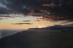 Unbelievable summer evening scene on the Vik, durholaey. Colorful sunset in Iceland, Europe. Beauty of nature concept background royalty free stock photo
