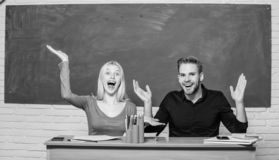 That is unbelievable. University students gesturing. High school education. Couple studying in classroom. Man and woman stock photos