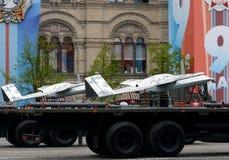 Unbemanntes Flugzeuge ` Seeräuber ` auf rotem Quadrat während der Wiederholung der Parade eingeweiht dem 73. Jahrestag des Sieges lizenzfreie stockfotos