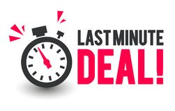 Vector Illustration Last Minute Deal Icon With Clock. Vector Illustration Cool Last Minute Deal Icon With Clock royalty free illustration