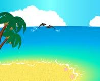 Unbewohnte Insel mit Palmen, Ozean und einem Delphin Stockbilder