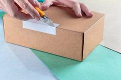 Unboxing упакованные пакеты стоковые фотографии rf