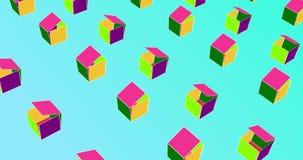 Unboxing av färgrika askar Isometrisk kuböppning Snedvrida polygonen arkivfilmer