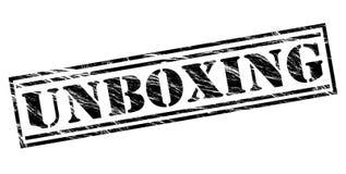 Unboxing black stamp. Isolated on white background Stock Image