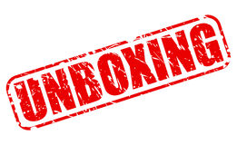 Unboxing czerwień stemplowy tekst Obraz Stock