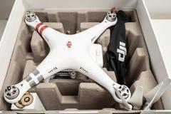 Unboxing Drone quadrocopter Dji Phantom 3 Advanced Royalty Free Stock Image