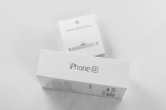 Unboxing and first run of the new iPhone SE Stock Photos