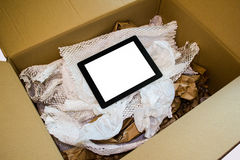 Unboxing new tablet computer stock photos