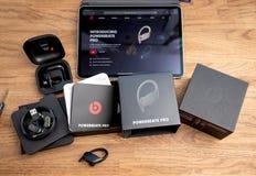 Unboxing of Powerbeats Pro Beats by Dr Dre wireless headphones. Paris, France - Jun 17, 2019: Unboxing of Powerbeats Pro Beats by Dr Dre wireless high stock images