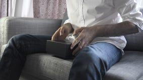 Unboxing von Apple Fernsehen stock video footage