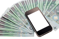 Unbranded cell phone and a lot of money. Stock Images
