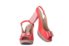 Unbranded new woman shoes. Isolated on white Royalty Free Stock Photo